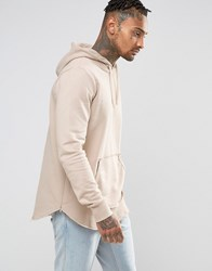 Criminal Damage Hoodie With Raw Hem Beige