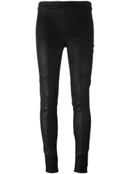 Isabel Benenato Ribbed Detailing Leggings Black