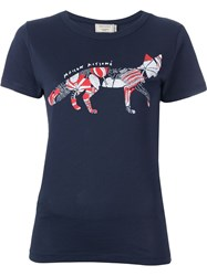 Maison Kitsune 'Flower Fox' T Shirt Blue