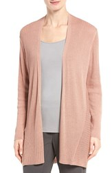 Eileen Fisher Women's Ribbed Silk And Organic Cotton Cardigan Toffee Cream