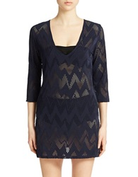 J Valdi Open Knit Tunic Cover Up Navy