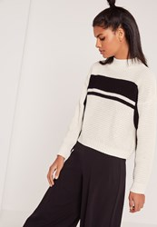 Missguided High Neck Mono Stripe Crop Jumper Cream