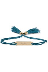 Chloe Messages Gold Tone Cotton Bracelet Petrol