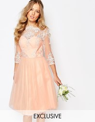 Chi Chi London Bardot Neck Midi Dress With Premium Lace And Tulle Skirt Rose Cloud Pink