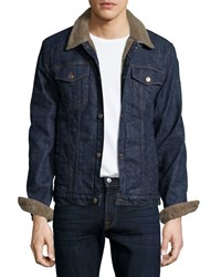 7 For All Mankind Faux Fur Lined Denim Jacket Indigo