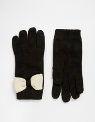 Asos Touch Screen Bow Gloves Blackandcream