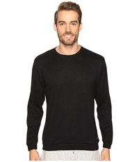 Kenneth Cole Reaction Sleep Crew Long Sleeve Black Solid Men's Pajama