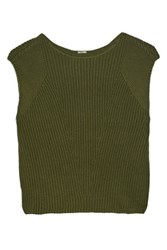 Adam By Adam Lippes Cropped Textured Cotton Cashmere And Silk Blend Top Army Green