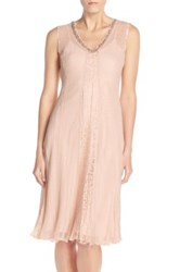 Komarov Embellished Chiffon And Lace A Line Dress With Wrap Pink
