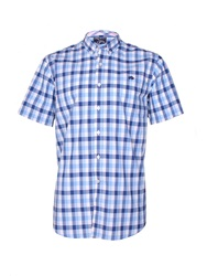 Raging Bull Voile Check Short Sleeve Button Down Shirt Cobalt
