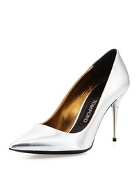 Tom Ford Low Heel Pointed Toe Metallic Pump Silver