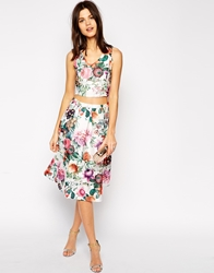 True Decadence Botanical Floral Midi Skirt Multi