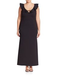 Abs Plus Size Deep V Neck Ruffle Gown Black