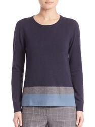 Peserico Colorblock Virgin Wool Silk And Cashmere Sweater Navy Multi