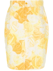 Gianni Versace Vintage Rose Print Pencil Skirt Yellow And Orange