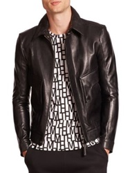 Helmut Lang Leather Aviator Jacket Black