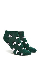 Forever 21 Rice Ball Print Ankle Socks Green Multi