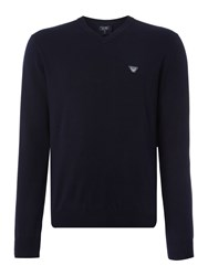 Armani Jeans V Neck Embroidered Eagle Logo Jumper Navy