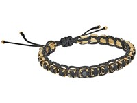 Tory Burch Crystal Macrame Bracelet Black Tory Gold