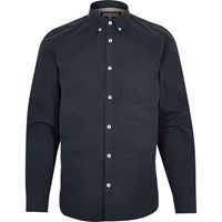River Island Mens Navy Twill Button Down Shirt