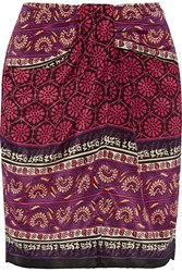 Anna Sui Printed Silk And Cotton Blend Mini Skirt Claret Purple