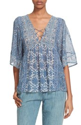 Joie Women's 'Scorpio' Mix Print Lace Up Silk Peasant Top Faded Sky