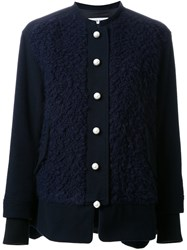 Muveil Textured Collarless Jacket Blue