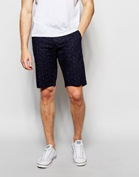 Blend Of America Blend Slim Chino Shorts Broken Line Print In Insignia Blue Insignia Blue