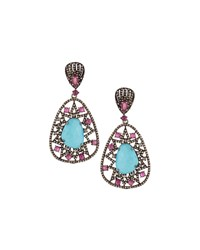 Bavna Diamond Turquoise And Composite Ruby Double