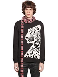 Just Cavalli Printed And Flocked Cotton Sweatshirt