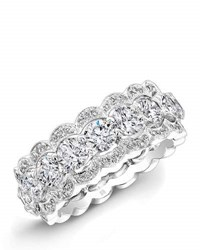 Rahaminov 18K White Gold And Diamond Band Ring With Halos