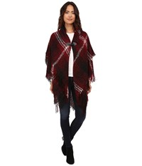Steve Madden Ombre Plaid Boucle Double Layer Cape With Toggle Maroon Women's Sweater Red