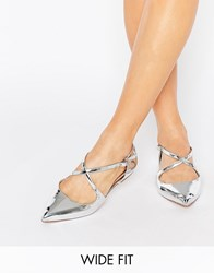 Asos Live For The Moment Wide Fit Ballet Flats Silver