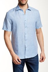 Report Collection Short Sleeve Regular Fit Linen Shirt Blue