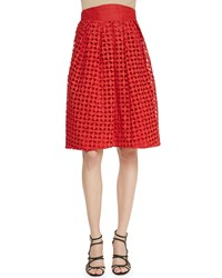 Zac Posen High Waisted Cutwork Embroidered Skirt Size 8 Red