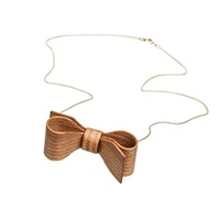 Hring Eftir Hring Wooden Bow Necklace Gold Brown