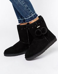 Head Over Heels By Dune Rozz Pom Pom Cosy Flat Boots Black