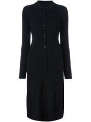 Dkny Midi Knit Shirt Dress Black