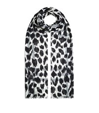 Burberry Shoes And Accessories Lightweight Animal Check Wool Silk Scarf Female White