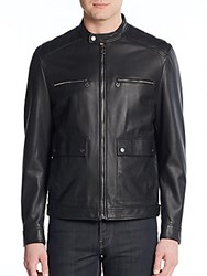 Salvatore Ferragamo Quilted Leather Moto Jacket Nero