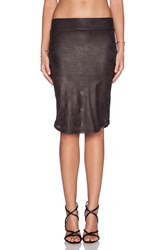 Monrow Perforated Leather Pencil Skirt Black