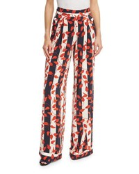 Johanna Ortiz Striped Leaf Print Silk Pants Red Navy Red Navy