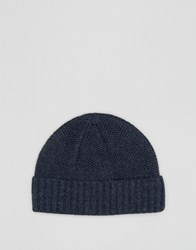 Asos Lambswool Blend Stitch Fisherman Beanie In Denim Denim Blue