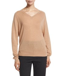 Vince Relaxed Cashmere V Neck Sweater Caramel