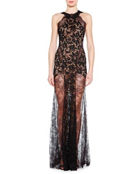 Emilio Pucci Lace Evening Gown With Sheer Skirt