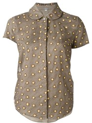 Jupe By Jackie Square Embroidered Shirt Brown
