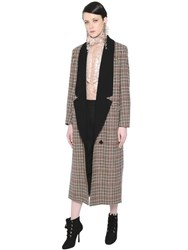 Lanvin Double Breasted Houndstooth Wool Coat