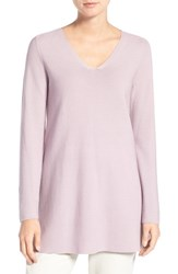 Eileen Fisher Petite Women's V Neck Organic Cotton Pullover Sea Lavender