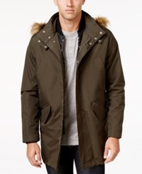 Cole Haan Men's 3 In 1 Lightweight Anorak With Faux Fur Removable Hood Olive