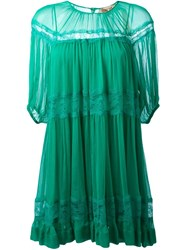 No21 Lace Detail Pleated Dress Green